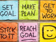 set goal, make plan, work, stick to it, reach goal - a success concept presented with colorful sticky notes
